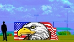 6' x 15' Eagle with Waving Flag